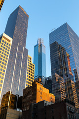 New York City / USA - JUL 19 2018: Midtown skyscrapers and buildings facade in Manhattan