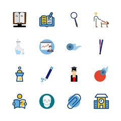 education vector icons set. school, alphabet book, lecture and responsibility in this set