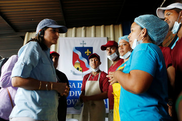 U.S. Ambassador to the United Nations Nikki Haley visits a shelter for Venezuelan migrants in Cucuta