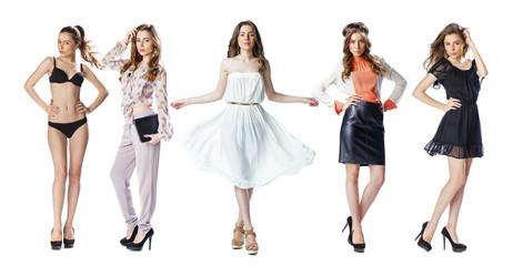 Collage Snap Models. Full length portrait of a beautiful brunette models