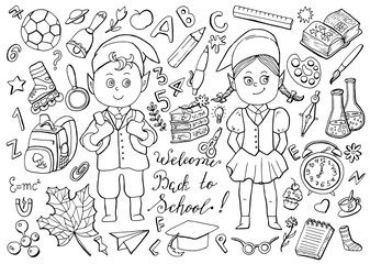Design black and white set with schoolgirl, schoolboy and school objects on white. Back to school vector illustration, September 1, knowledge day and science concept, doodle line art drawings