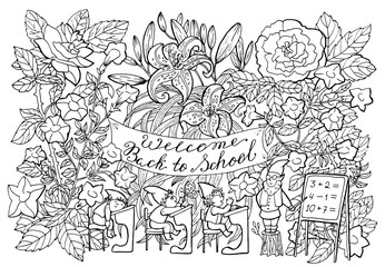 Black and white illustration with little gnomes pupils and teacher learning in the flower garden. Back to school vector illustration, September 1, knowledge day and science concept, doodle drawings