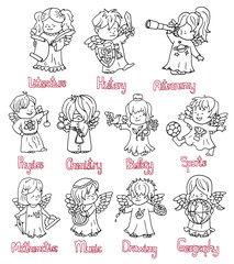 Design black and white set with funny little angels in science costumes. Back to school vector illustration, September 1, knowledge day and science concept, doodle line art drawings