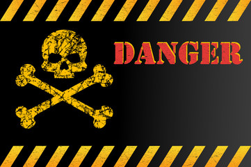 Warning sign of danger with skull, with space for text explanation. Effect, grunge, worn, scratched. Vector illustration for your design.