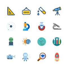 science vector icons set. potion, microscope, alien and rocket in this set