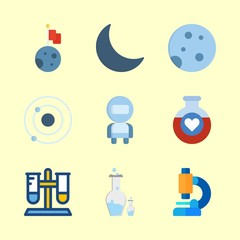 science icons set. astronomy, detail, repair and alchemist graphic works