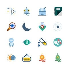 science vector icons set. potion, moon, magnifying glass and library in this set