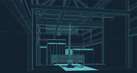wire frame illustration of the interior of a Japanese pagoda ready for tea ceremony in virtual reality