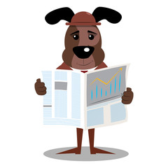 Cartoon vector illustrated business dog reading newspaper.