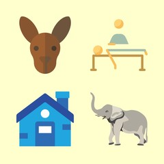family vector icons set. kangaroo, house, elephant and relaxing in this set