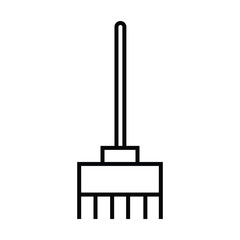 broom stand cleaning icon with outline and line style