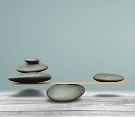 Zen basalt stones on desk