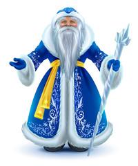 Russian Santa Claus grandfather frost in blue fur coat