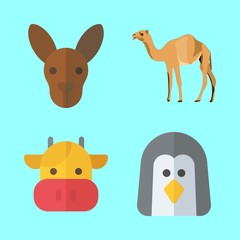 animals vector icons set. kangaroo, camel, cow and penguin in this set