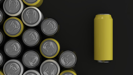 Big black, white and yellow soda cans on black background