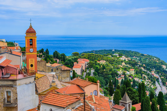 Stunning views of the coast from the medieval village of Roquebrun Cap Martin. Cote d'Azur. France
