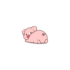 Cute pig lying down and looking back, vector illustration