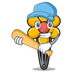 Playing baseball hair clip character cartoon