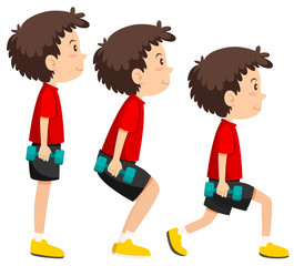 A set of boy weight training exercise