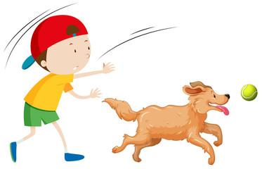 A boy training dog
