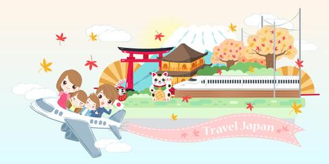 cartoon family travel in japan