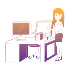 cartoon businesswoman at the office over white background, vector illustration
