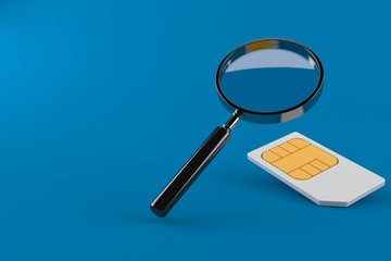 Magnifying glass with sim card