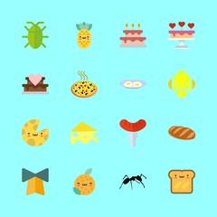 food icons set. nutshell, frankfurter, egg and animal graphic works