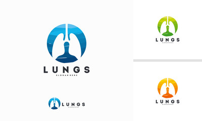 Abstract Circle Lungs logo designs concept vector, Science Lungs symbol
