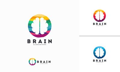Abstract Circle Brain logo designs concept vector, Brain Education logo symbol