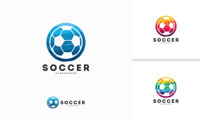Abstract Circle Soccer logo designs vector, Football logo template