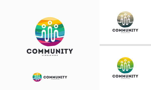 Abstract Colorful Circle Community logo designs concept vector, Group logo template designs