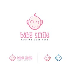 Smile baby face logo designs concept vector, Kids logo template