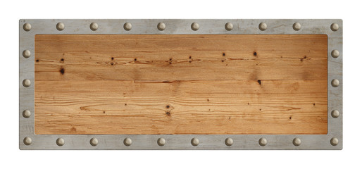 Old blank wooden sign with metal border isolated