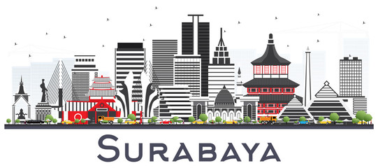 Surabaya Indonesia Skyline with Gray Buildings Isolted on White.