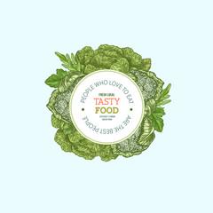 Green fresh vegetables round design template. Engraved  illustration. Vector illustration