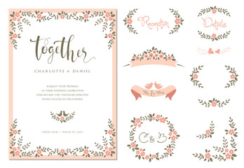 Wedding graphic set with branches, flowers, birds, butterflies, laurels, banners and frames.