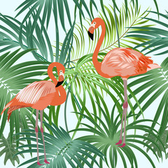 Tropical plant seamless pattern with flamingo, tropical leaves of palm tree.