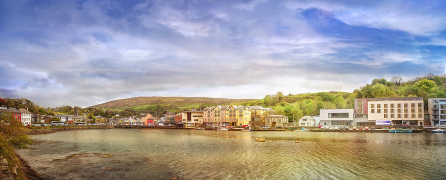 Panoramic landscape of a small town Bantry in a county Cork