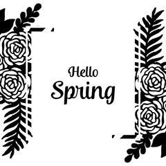 Hello spring with flower theme hand draw vector illustration