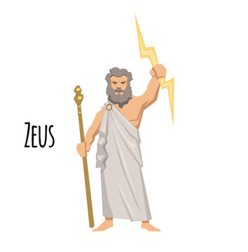 Zeus, the Father of Gods and men, ancient Greek god of sky. Ancient Greece mythology. Flat vector illustration. Isolated on white background.