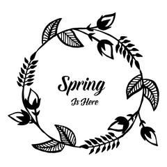 Spring is here floral frame design hand draw vector illustration
