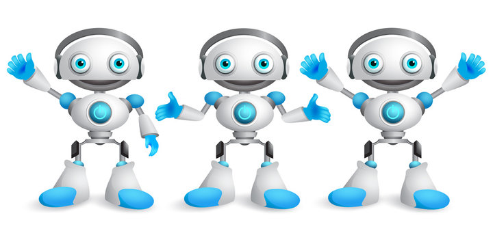 Friendly robots vector character set. Funny mascot robot design element for presentation with postures and hand gestures isolated in white. Vector illustration.