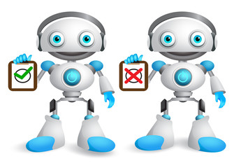 Robot vector characters set. Friendly robotic android holding white board with sign different signs isolated in white. Vector illustration for presentation.