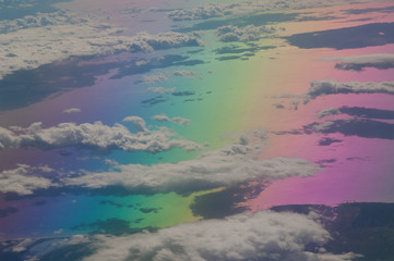 North of the Aegean sea and coast of Turkey saw from an airplane. Colors produced when light is passed through the airplane window.