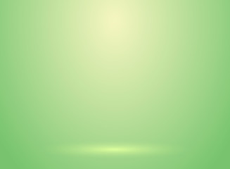 Studio room green lihjt background with lighting well use as Business backdrop
