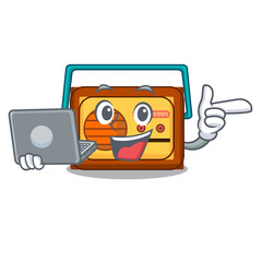 With laptop radio character cartoon style