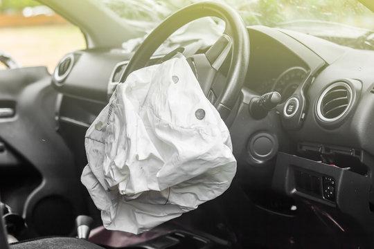airbag exploded at a car accident,Car Crash air bag