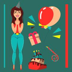 Beauty cartoon girl in flat style. Birthday theme