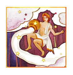 Astrological sign of the zodiac Aquarius as a young man pouring water out of a pitcher , on a dark  pattern background